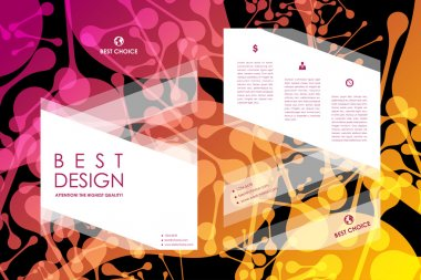 Set of brochure in neon molecule style