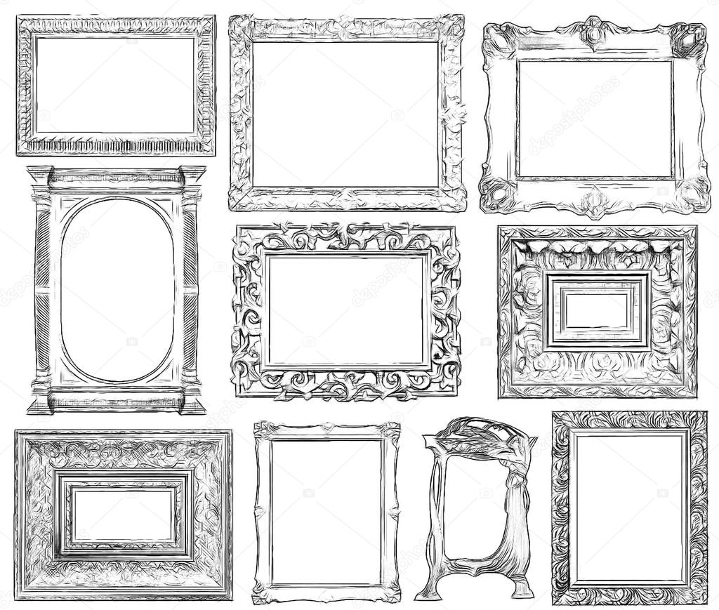 Set of vintage frame in draw, sketch style. — Stock Photo © cranach2 ...