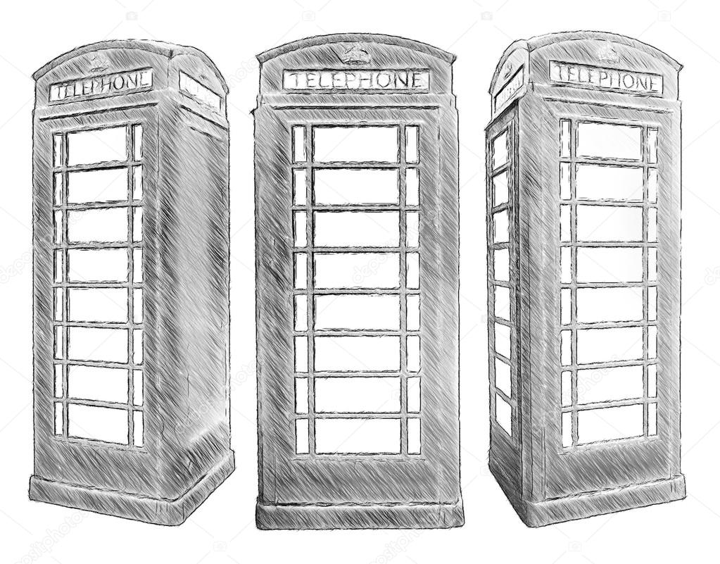 Klassische Britische Rote Telefonzelle Illustration In Zeichnen