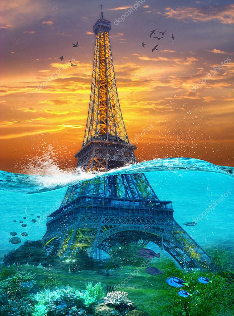 Sunk Eiffel Tower. Surreal illustration in soft oil painting style