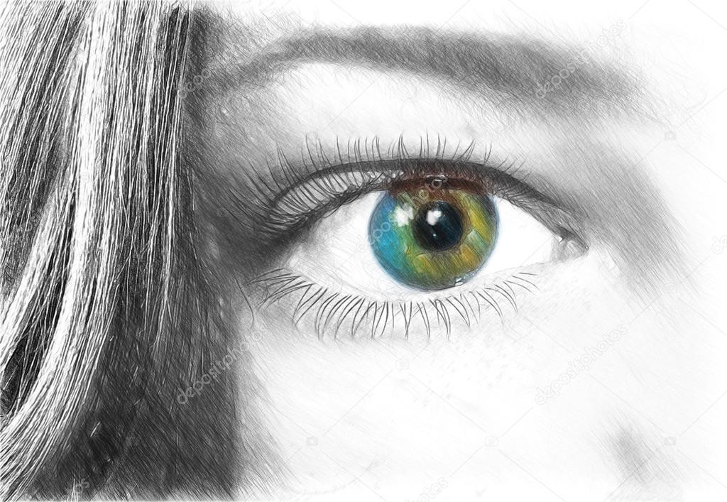 Weibliche Auge Illustration Zeichnen Skizzieren Sie Stil Stockfoto