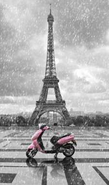 Eiffel tower in the rain with pink scooter of Paris. Black and w