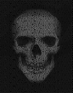 Skull made of  binary code. Hacker, cyber war symbol.