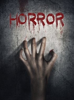 Horror Scene. Hand on wall backround. Poster, cover concept.