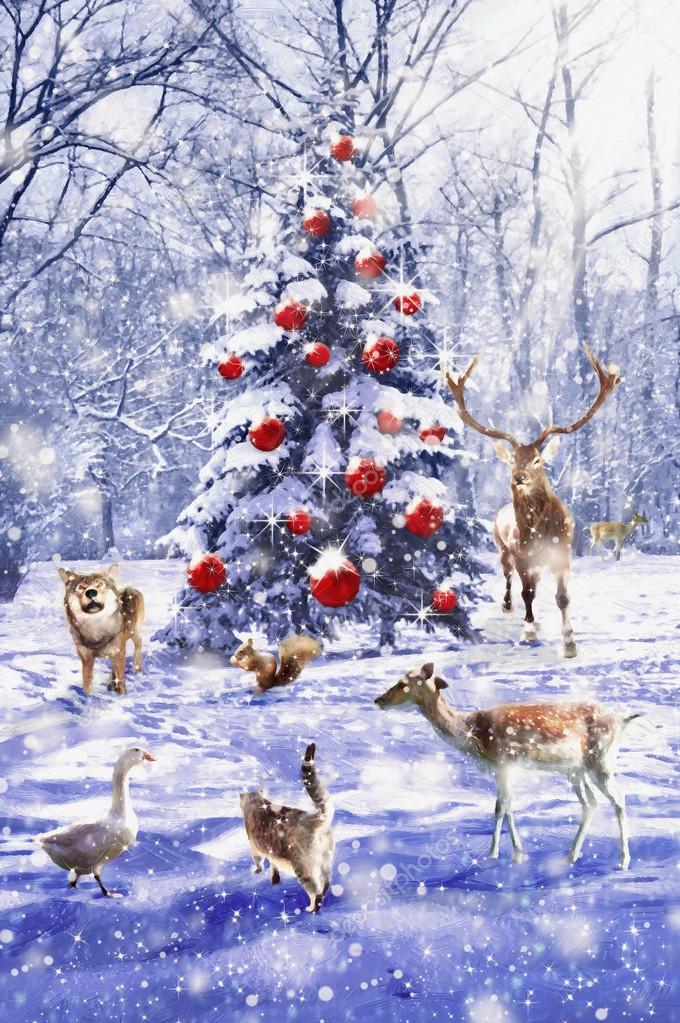 Weihnachtsbaum. Xmas-Szene mit Tieren. Abbildung im Gemälde-Stil ...