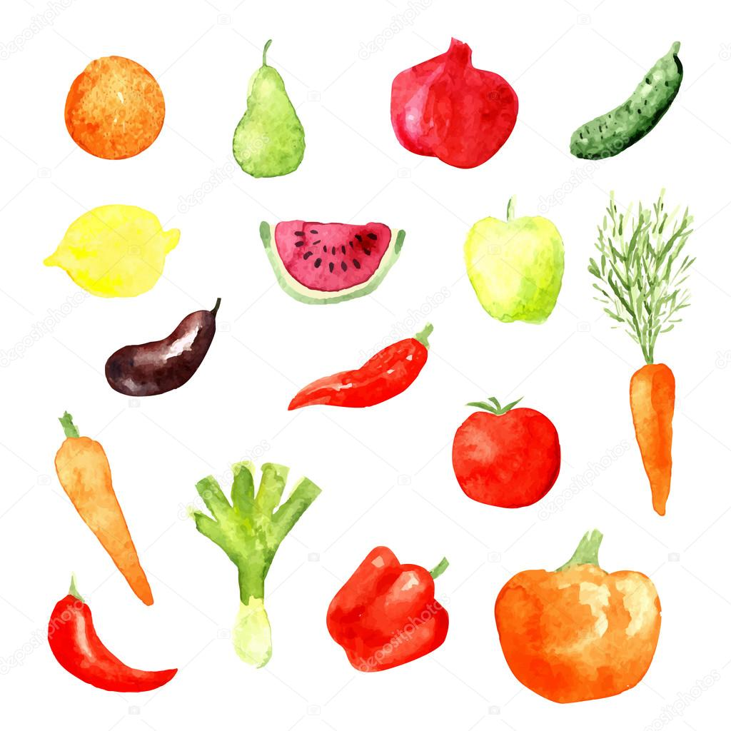 Watercolor fruit and vegetable icons, vector illustration, aubergine, carrot, cucumber, watermelon