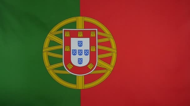Slowmotion real textile Flag of Portugal