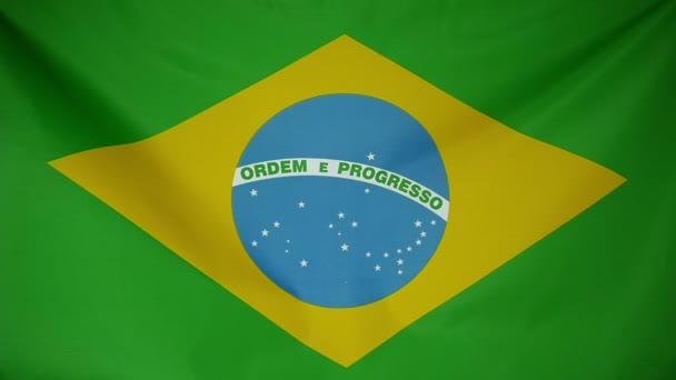 Slowmotion real textile Flag of Brazil