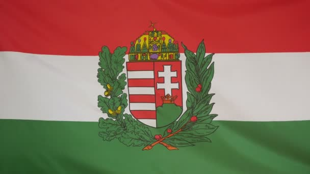 Hungary coat of arms Flag real fabric close up