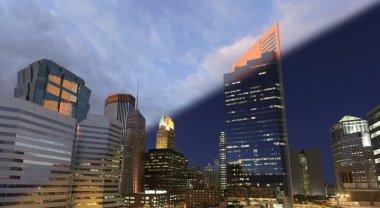 Minneapolis Skyline sunset to twilight