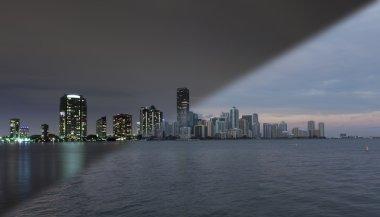 Miami skyline sunset twilight