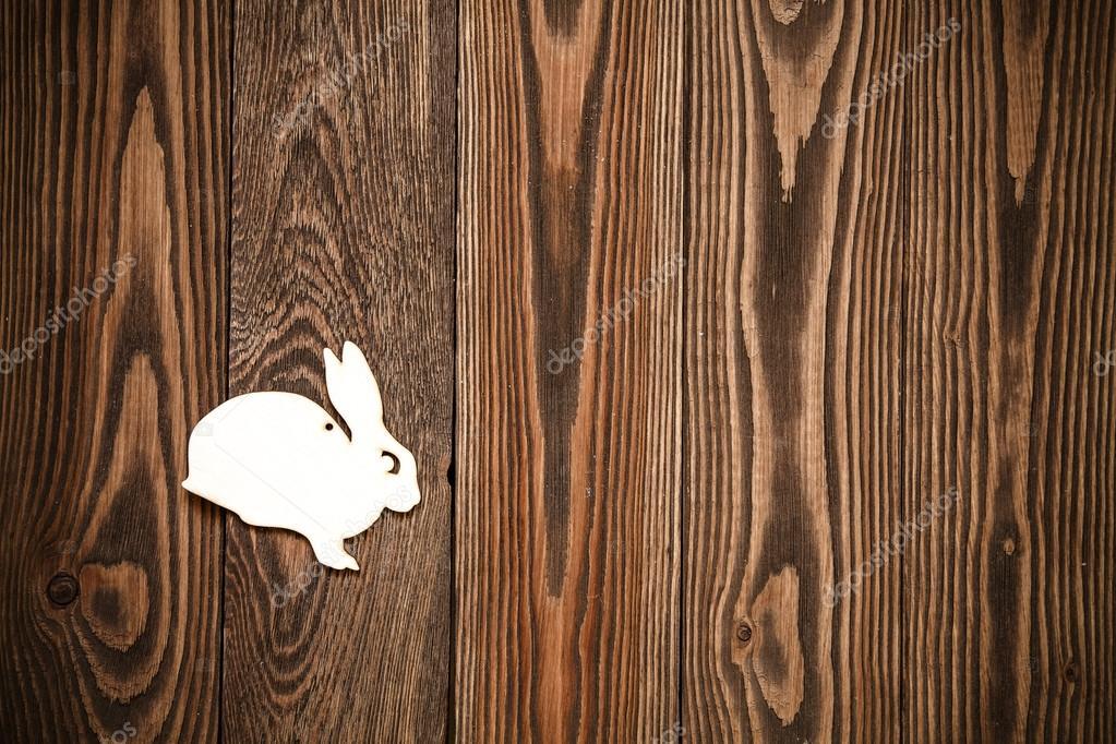 Holz Spielzeug Kaninchen auf braunes Holz Hintergrund, Board, Textur ...