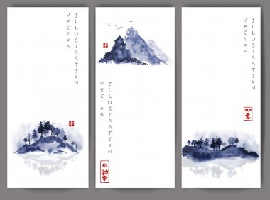 Banners with trees and mountains hand drawn with ink in traditional Japanese painting style sumi-e. Contains signs - well-being, way. stock vector