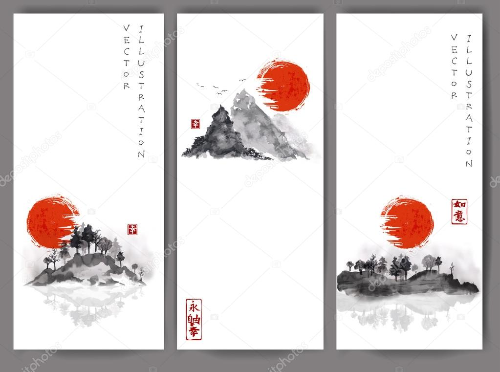 banners with red sun, bamboo, mountains
