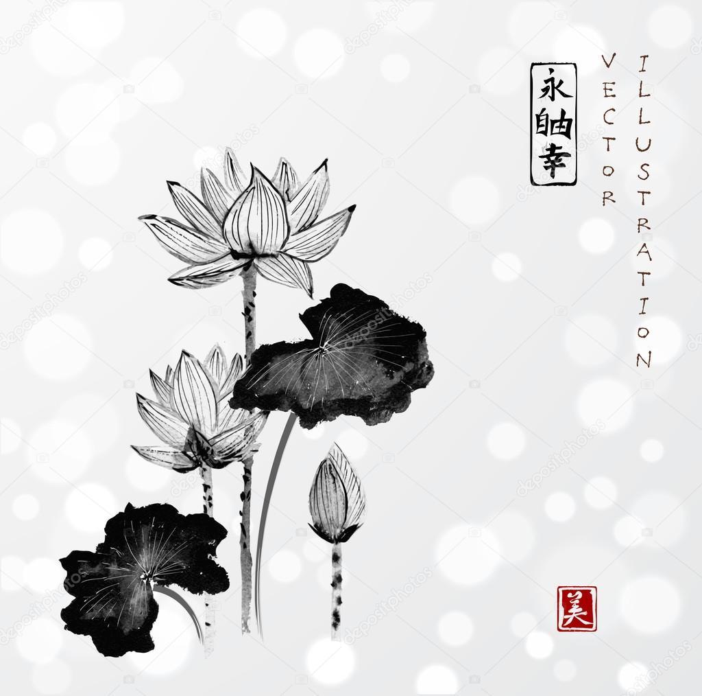 Lotus flowers hand drawn stock vector elinacious 116247682 lotus flowers hand drawn stock vector mightylinksfo