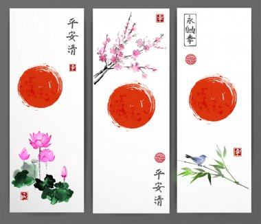 Banners with red sun