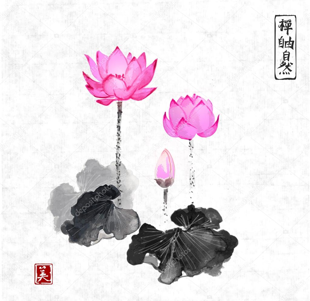 Traditional Japanese Ink Lotus Flowers Stock Vector Elinacious