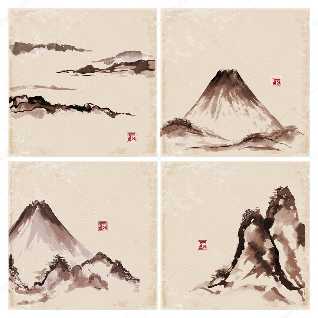 Set of vintage compositions in sumi-e style. Bamboo trees and mountains.