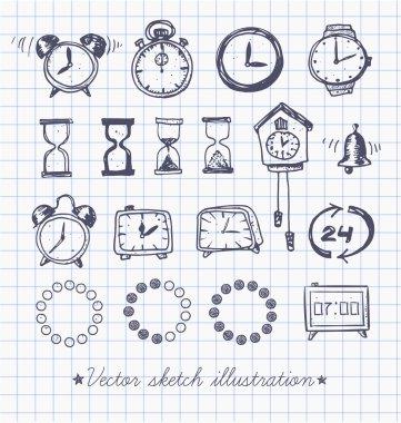 Set of vintage doodle sketch watches.