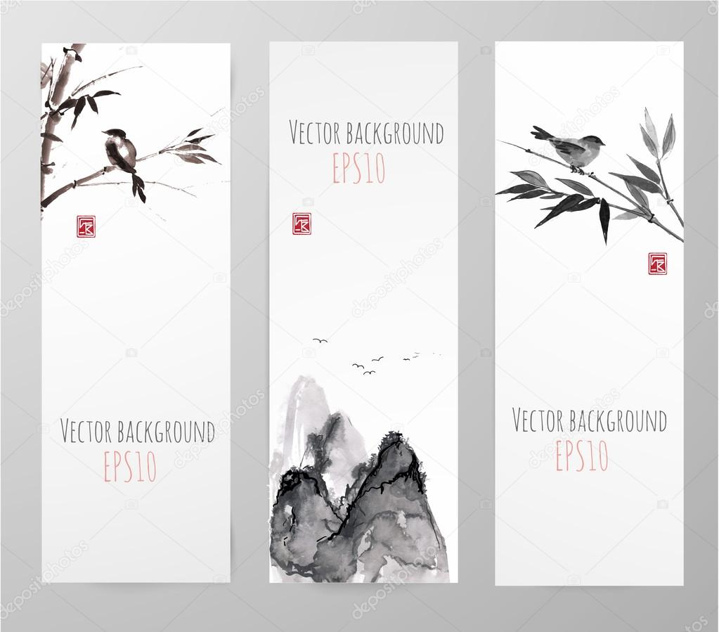 Banners with bamboo, mountains and bird in sumi-e style