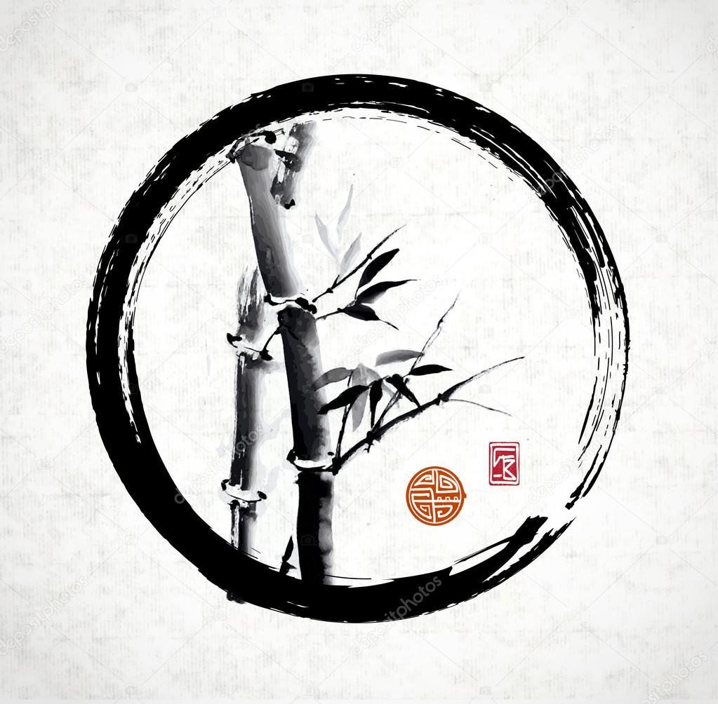 Bamboo in black enso circle
