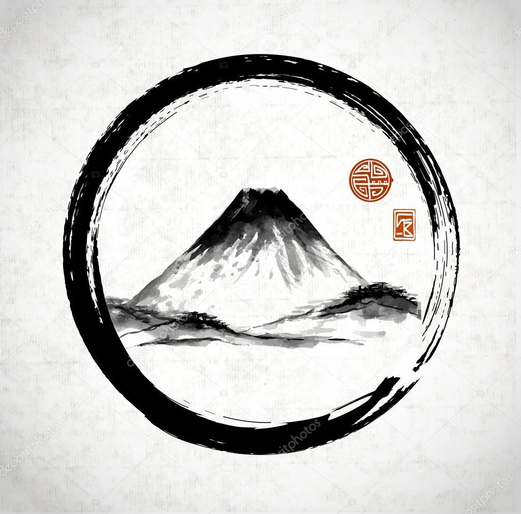 Fuji mountain in circle