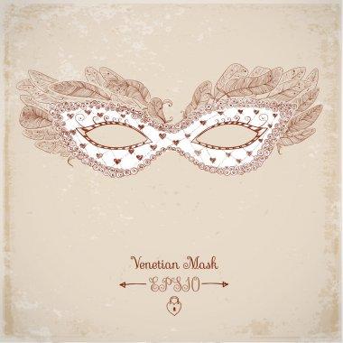 Card with festive Venetian mask