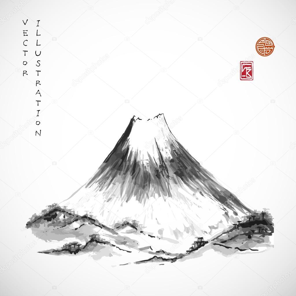 Fujiyama mountain in Japanese style