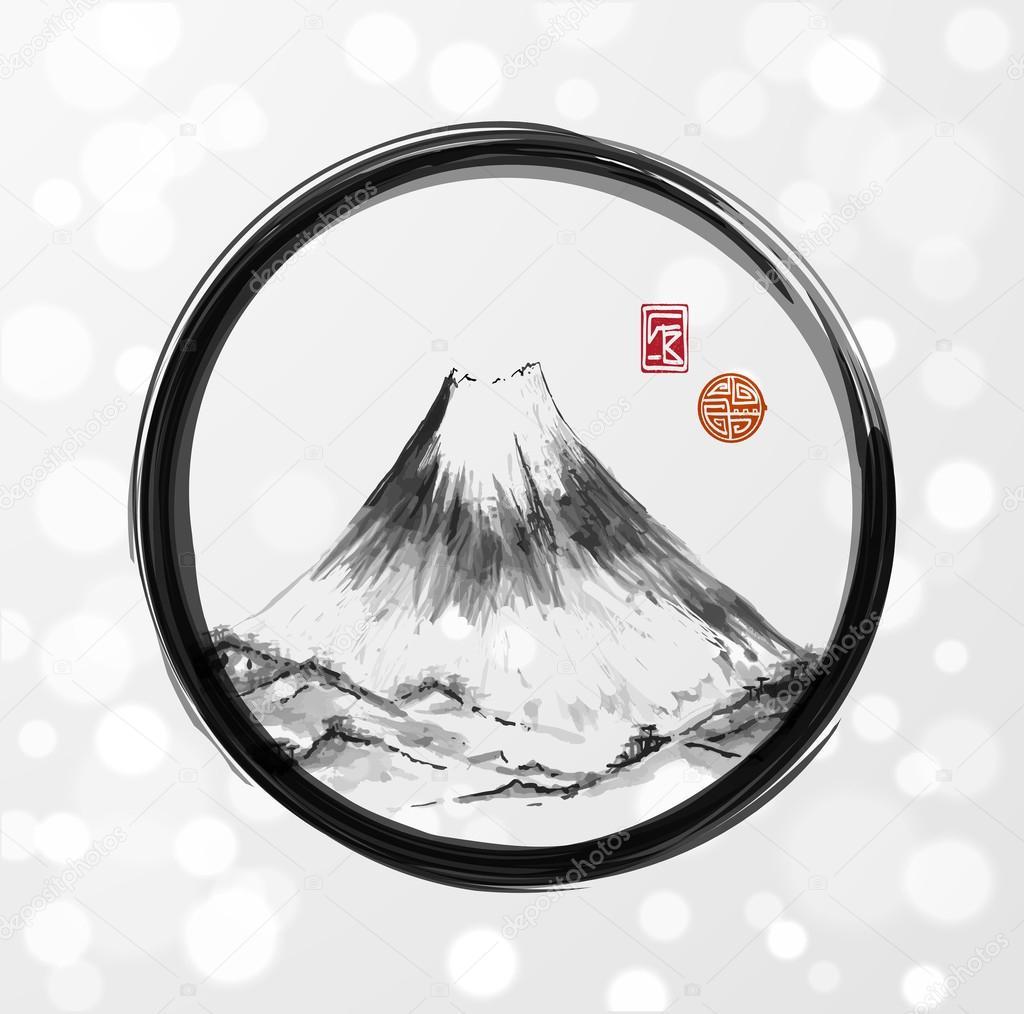 Fujiyama mountain in black enso circle