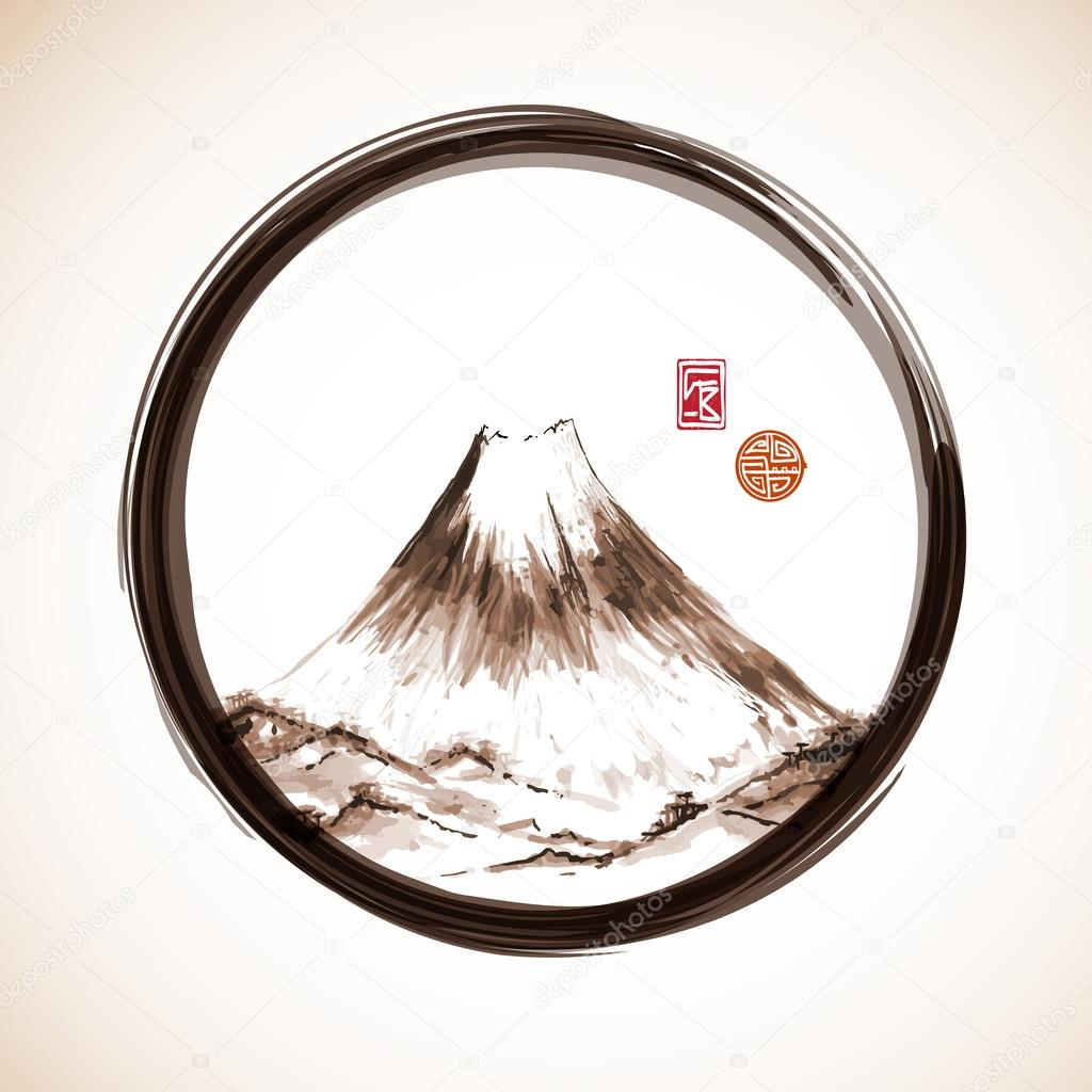 Fujiyama mountain in enso circle