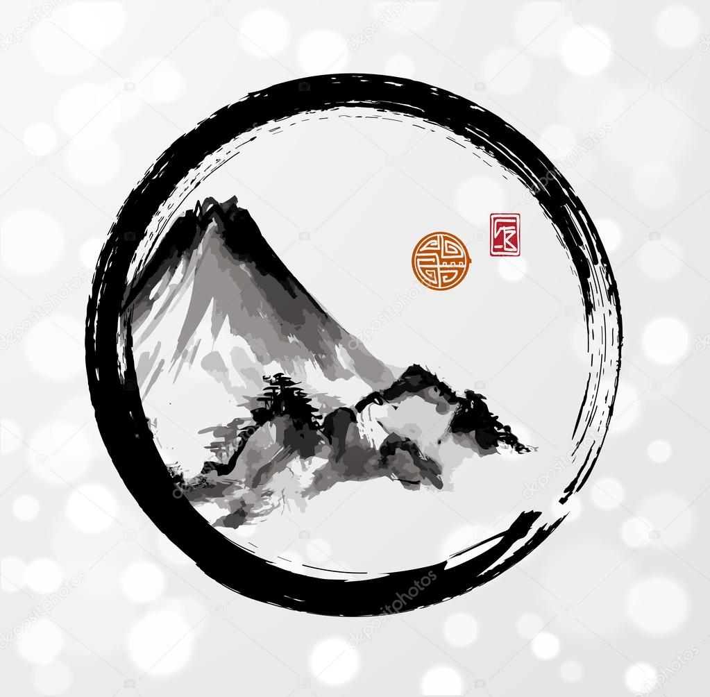 High mountains in black enso circle