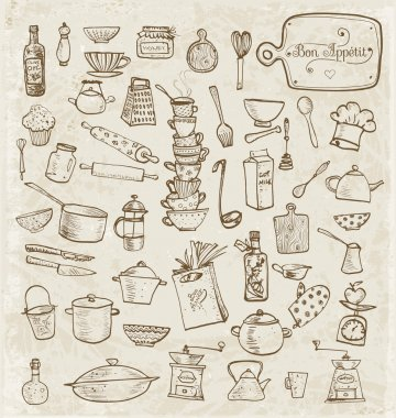 Kitchen sketch utensils