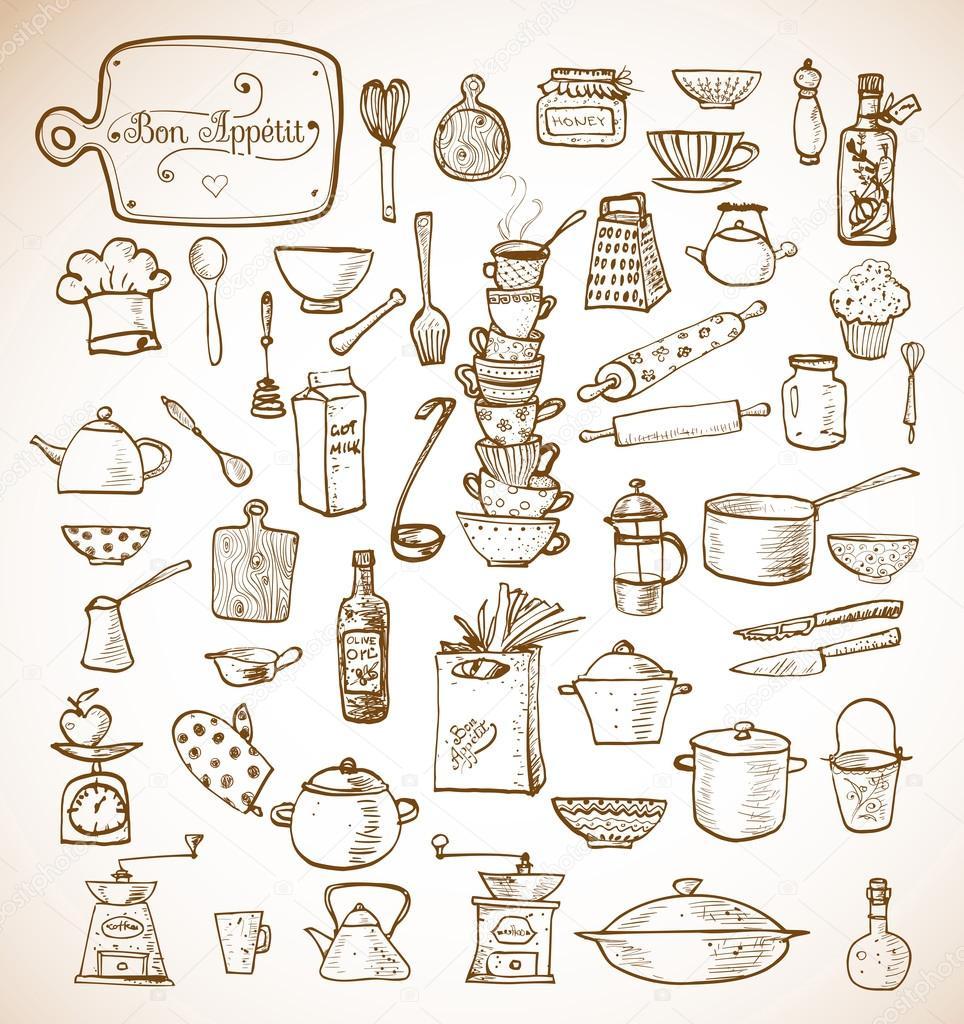 Utensilios de dibujo vector de stock elinacious 72133745 for Utensilios de cocina vintage