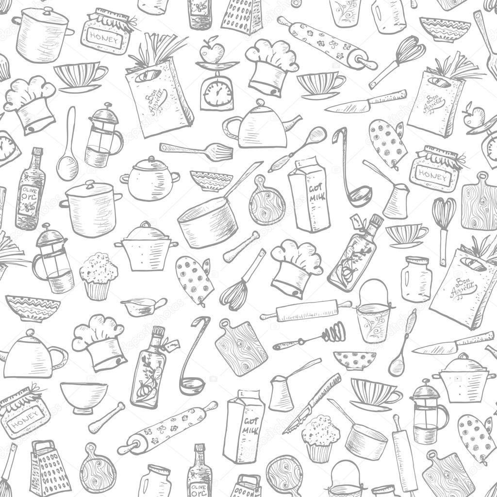 Textura con utensilios de cocina vector de stock - Papel decorativo cocina ...