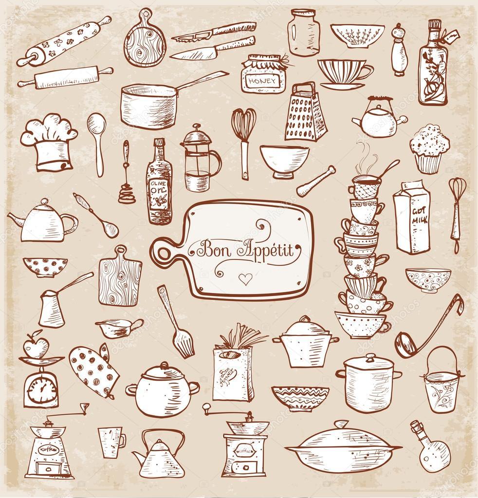 Kitchen utensils sketches stock vector elinacious - Instrumentos de cocina ...