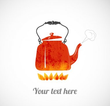 red boiling kettle on fire