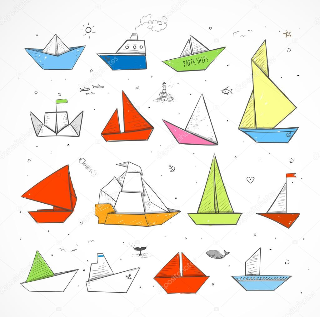 Colored Origami paper ships sketches
