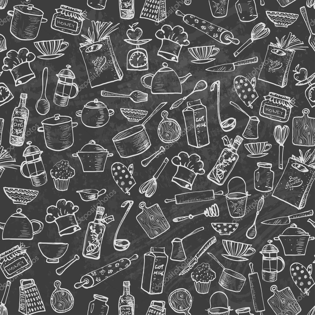 Kitchen Utensils Background: Seamless Texture With Kitchen Utensils