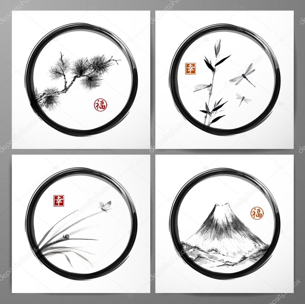 Set of compositions in sumi-e style — Stock Vector © Elinacious