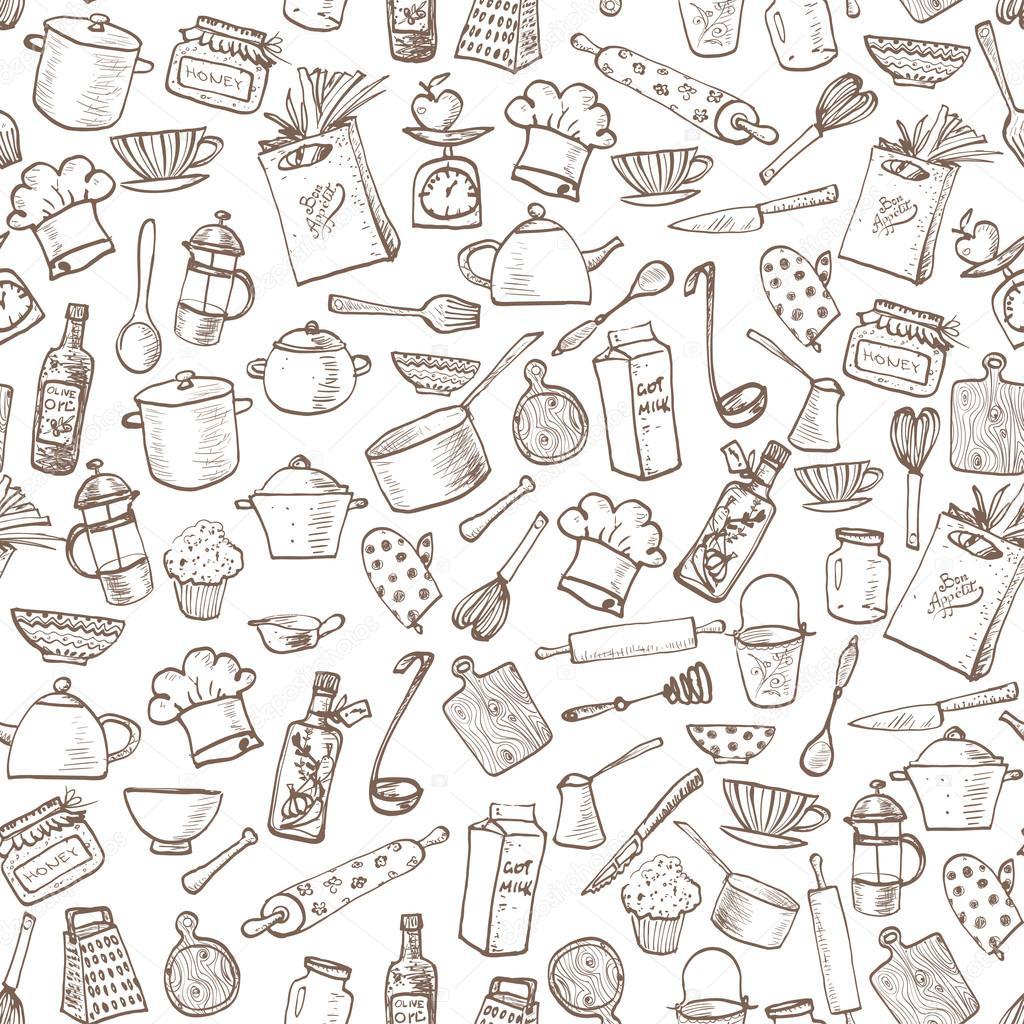 Struttura senza giunte con utensili da cucina — Vettoriali Stock ...
