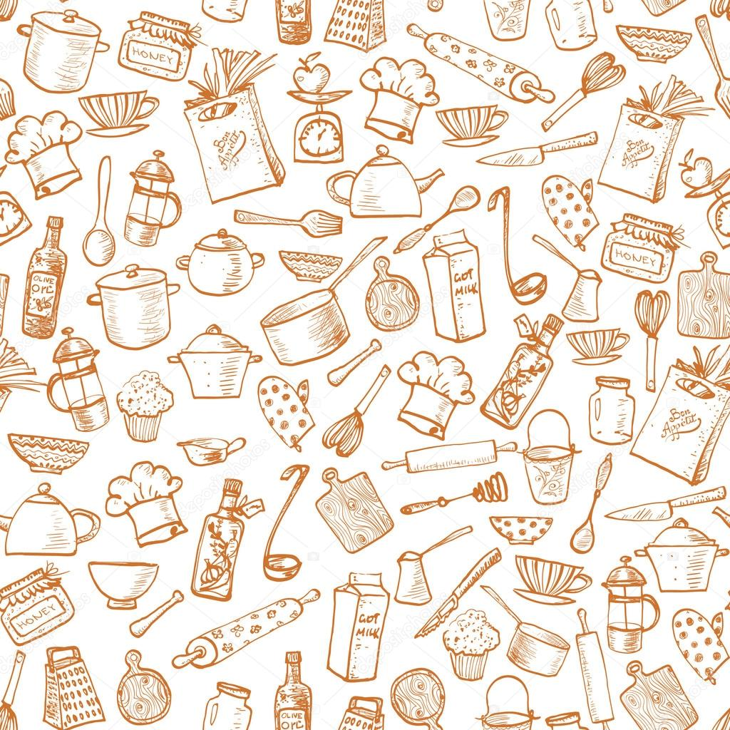 Seamless Texture With Kitchen Utensils Stock Vector C Elinacious