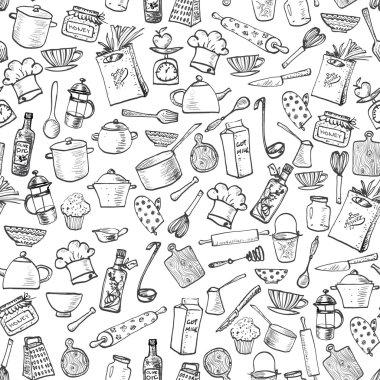 kitchen doodle sketch utensils