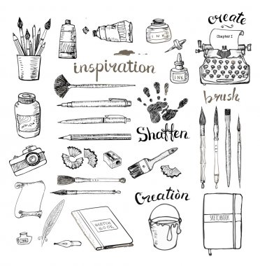 Sketches of artists and writers tools