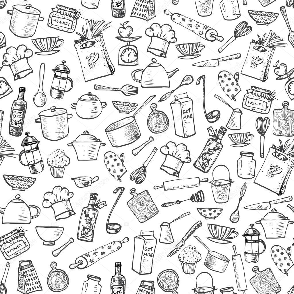 Kitchen doodle sketch utensils stock vector