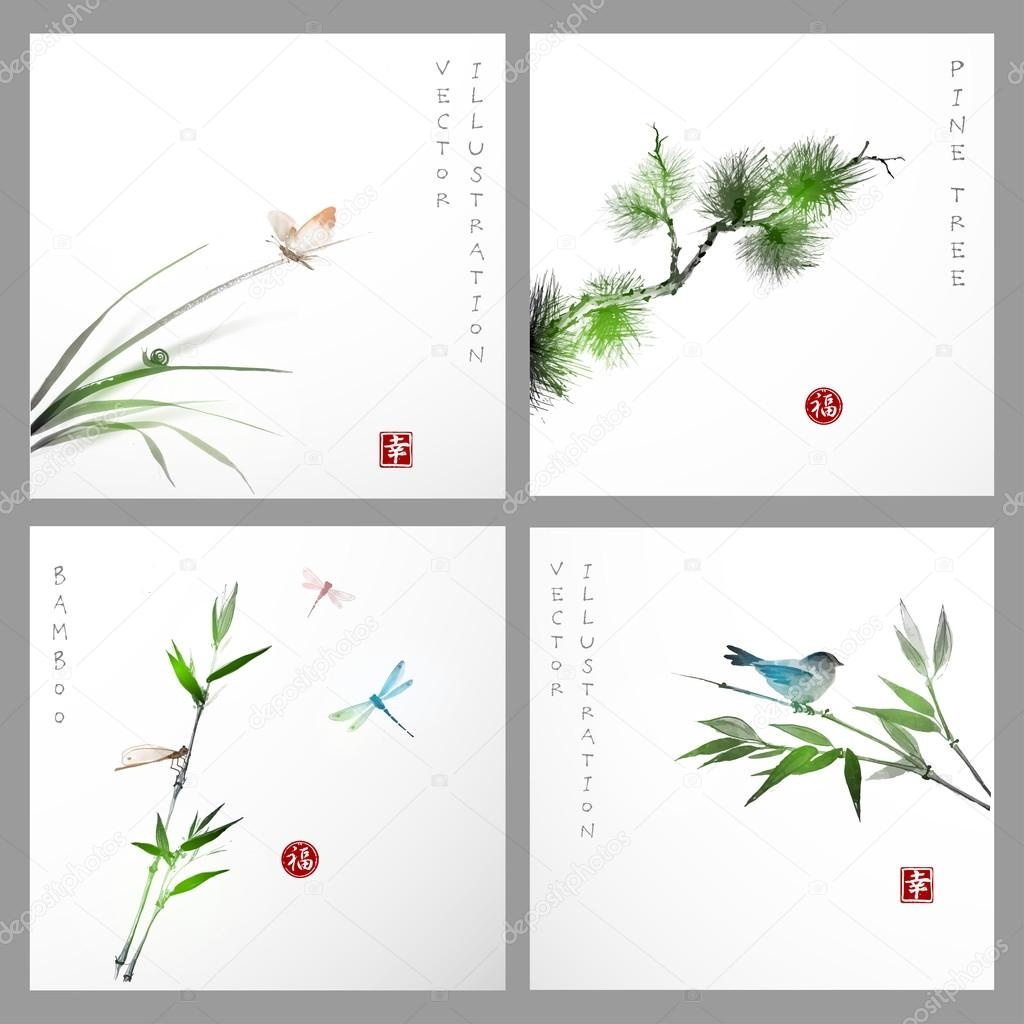 cards  in traditional Japanese painting style