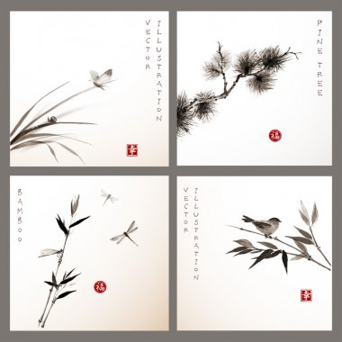 Set of cards with leaves of grass