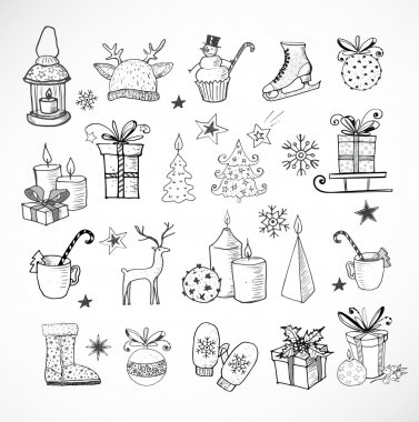 hand-drawn sketchy christmas elements