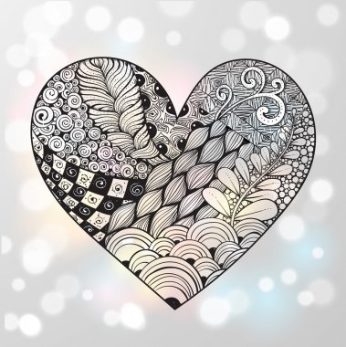 Big zentangle heart with ornament