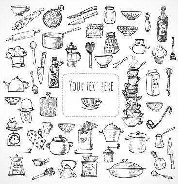 Card with kitchen utensils