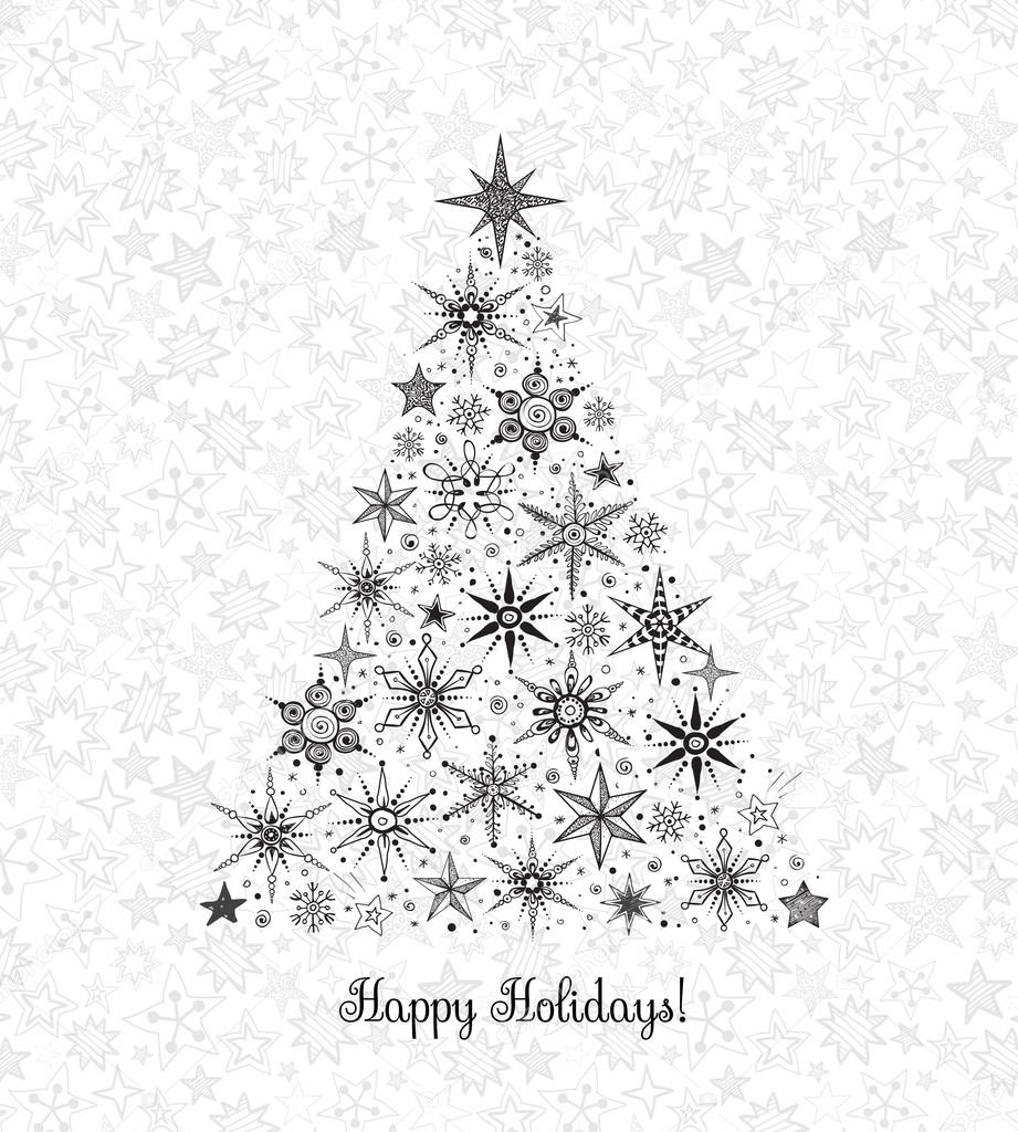 Sterne Für Weihnachtsbaum.Weihnachtsbaum Mit Sternen Und Schneeflocken Stockvektor